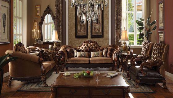 Cherry oak velvet golden brown finish classical sofa