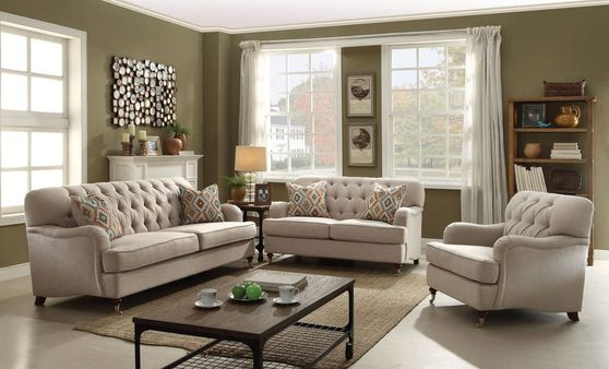 Contemporary cozy sofa in beige fabric