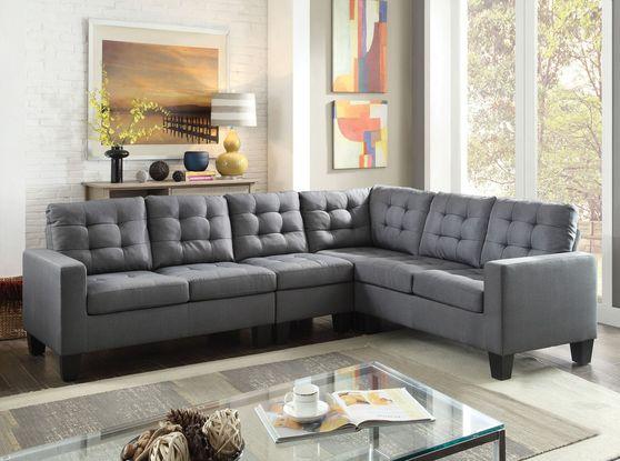 Gray linen fabric 4pcs sectional sofa