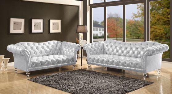 Glam style metallic silver fabric sofa