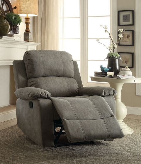 Polished micriofiber recliner chair in gray