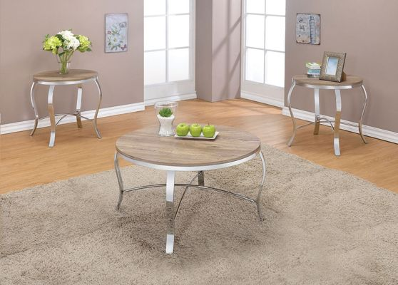 Weathered light oak chrome finish 3pcs coffee table