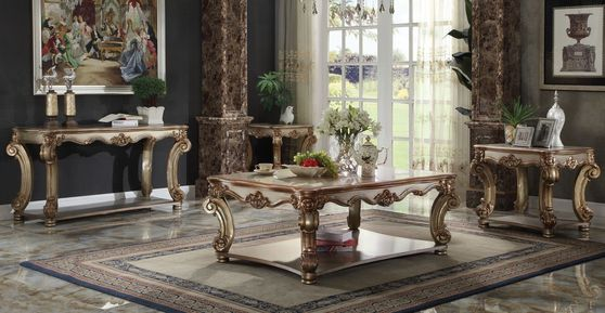 Gold platina finish classial style coffee table