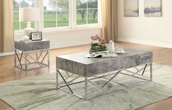Faux marble top chrome finish coffee table