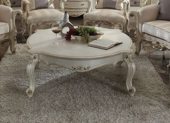 Antique pearl finish coffee table
