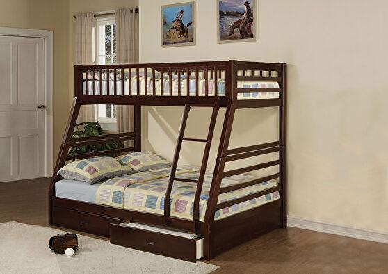 Espresso jason twin/full bunk bed & drawers