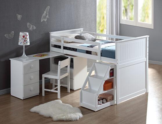 White loft bed, chest, desk & ladder