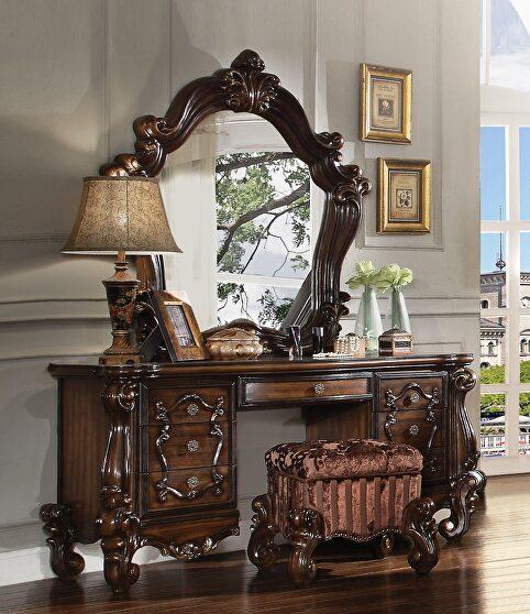 Cherry oak vanity desk, stool and mirror