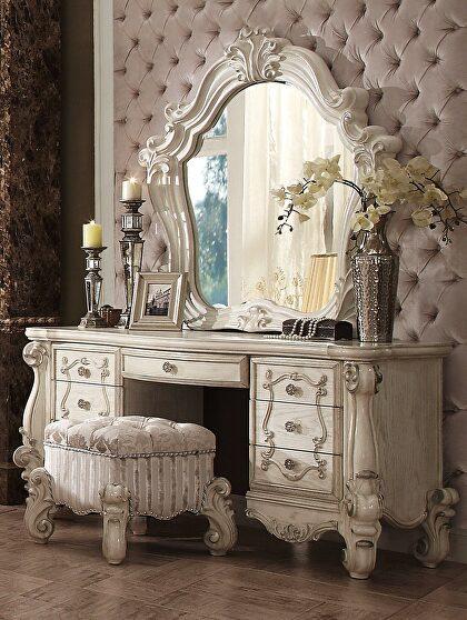 Bone white vanity desk, stool and mirror