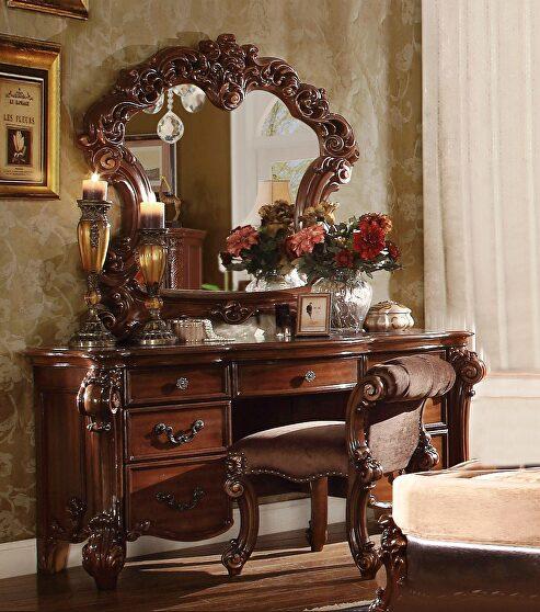 Cherry finish vanity desk, stool and mirror