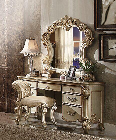 Gold patina & bone vanity desk, stool and mirror