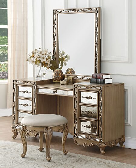 Antique gold vanity desk, stool and mirror