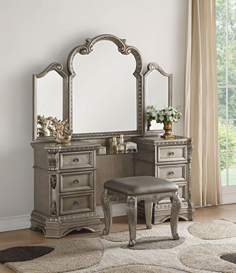Antique silver vanity desk and stool