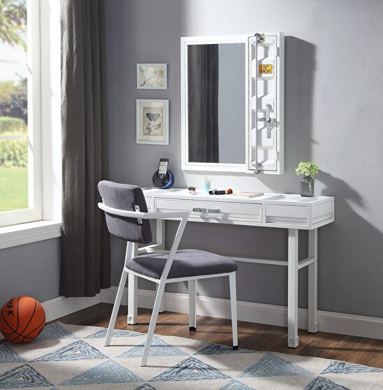 White finish vanity desk, chair and mirror
