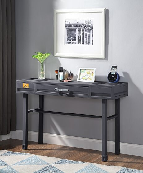Gunmetal finish vanity desk, chair and mirror