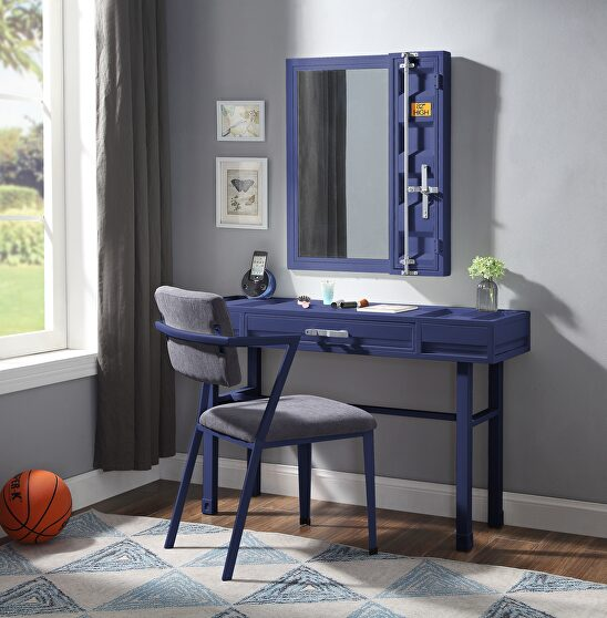 Blue finish vanity desk, chair and mirror