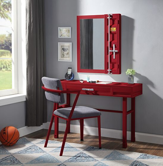 Red finish vanity desk, chair and mirror
