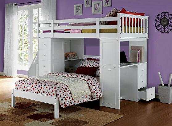 White loft bed & bookcase ladder