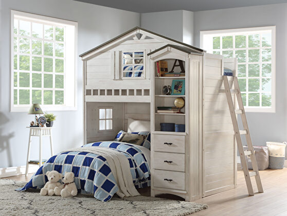 Weathered white & washed gray loft bed (twin size)