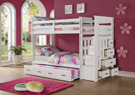 White twin/twin bunk bed w/storage ladder & trundle