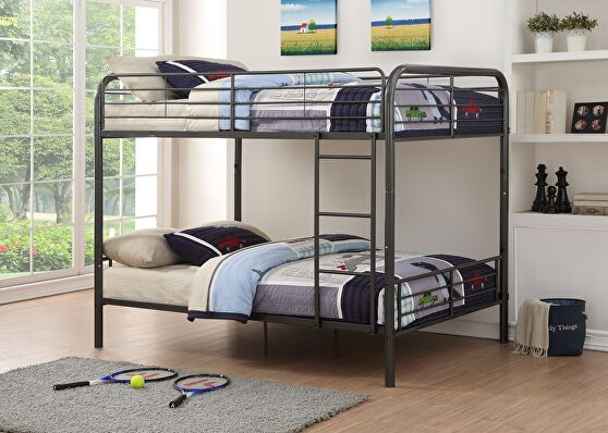 Gunmetal bristol full/full bunk bed
