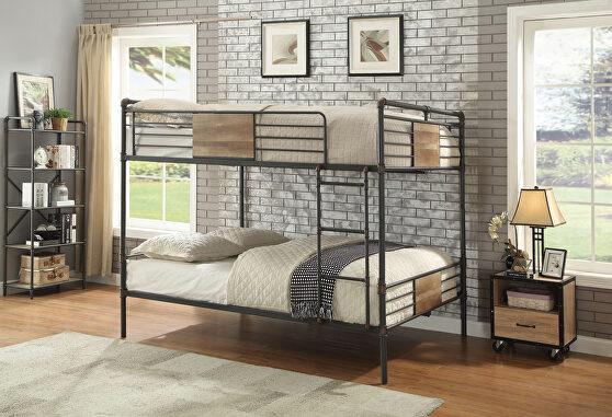 Sandy black & dark bronze hand-brushed queen/queen bunk bed