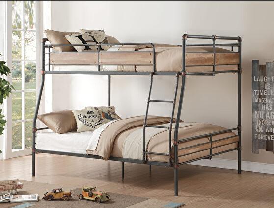 Sandy black & dark bronze hand-brushed full xl/queen bunk bed