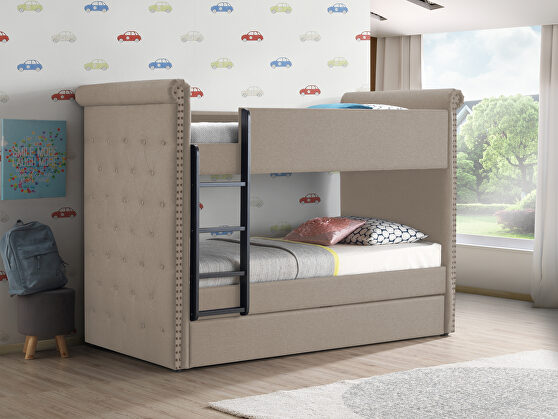 Beige fabric twin/twin bunk bed & trundle