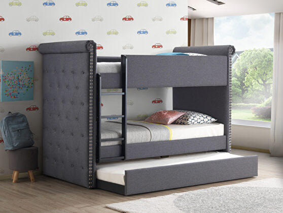 Gray fabric twin/twin bunk bed & trundle