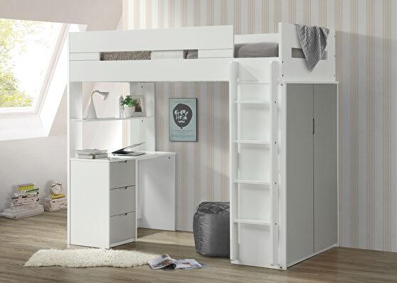 White & gray loft bed