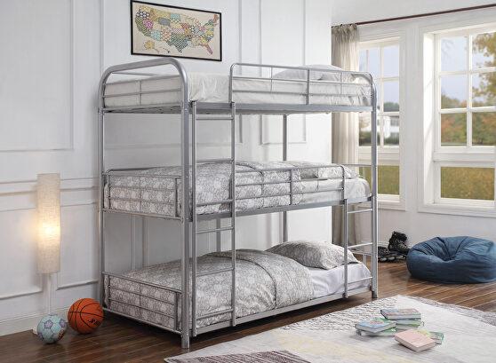 Silver triple bunk bed - twin