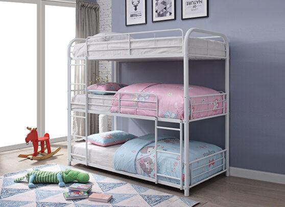 White triple bunk bed - twin