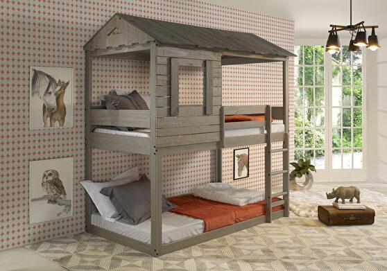 Rustic gray twin/twin bunk bed