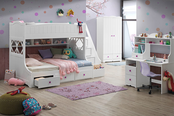 White twin/full bunk bed w/storage ladder & drawers