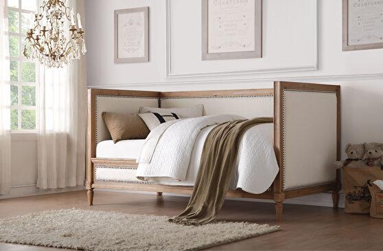 Cream linen & salvage oak daybed
