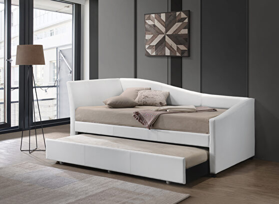 White pu daybed & trundle (twin size)