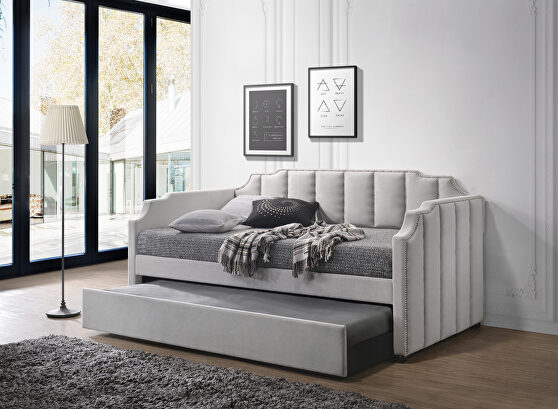 Dove gray velvet daybed & trundle (twin size)