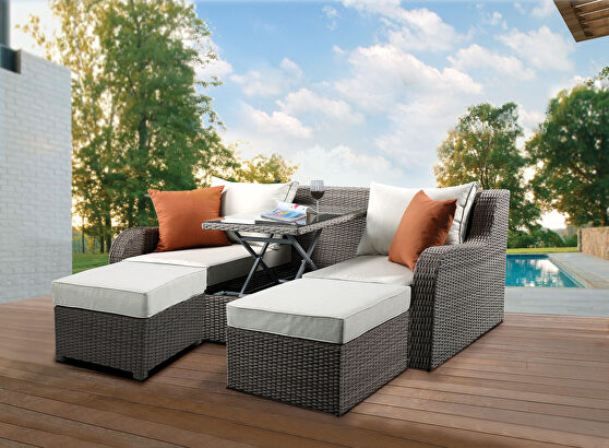Beige fabric & gray wicker patio sectional & 2 ottomans