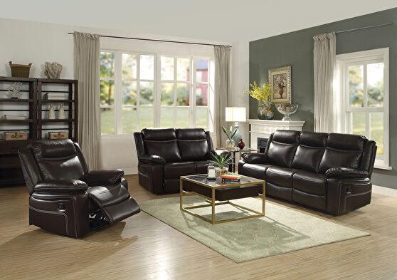 Espresso pu sofa (motion) sofa