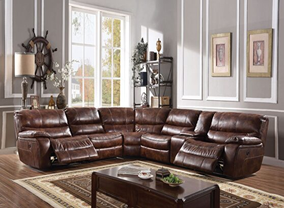 2-tone brown leather-gel power motion sectional sofa