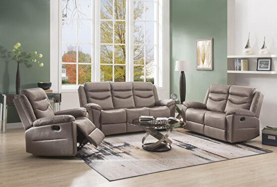Velvet motion sofa in silky brown