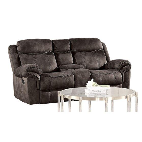2-tone chocolate velvet reclining loveseat