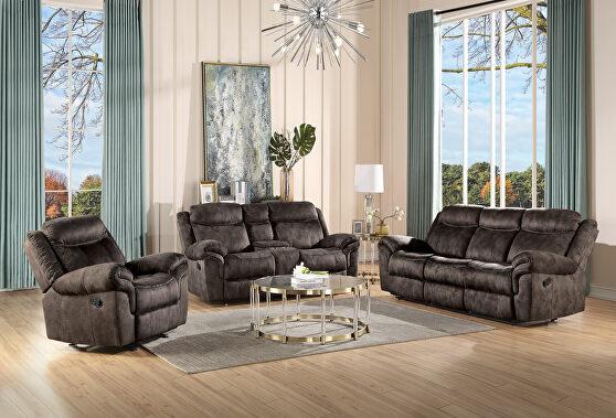 2-tone chocolate velvet reclining sofa