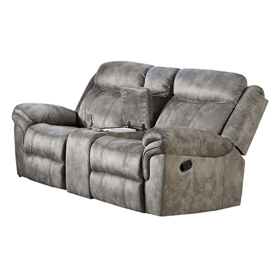 2-tone gray velvet a reclining loveseat