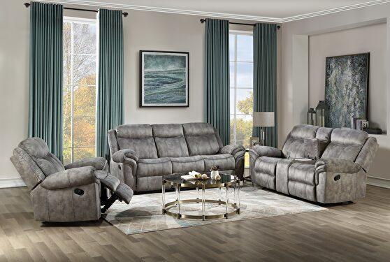2-tone gray velvet a reclining sofa