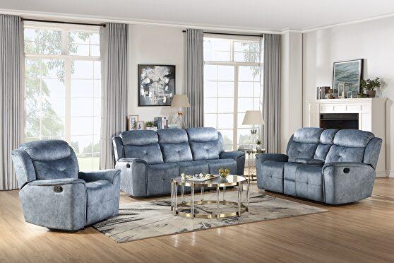 Silver blue fabric reclining sofa