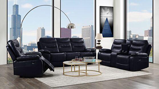 Navy leather-gel match sofa (motion)