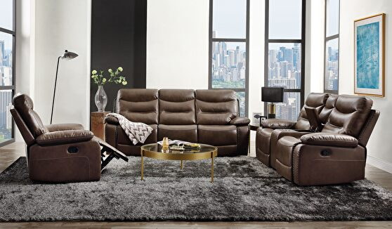 Brown leather-gel match sofa (motion)