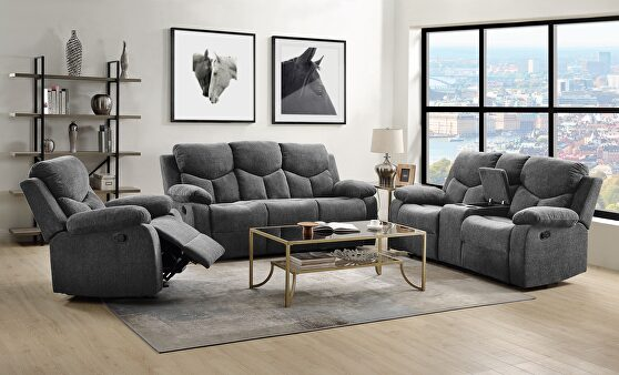 Gray chenille motion sofa