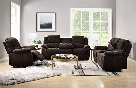 Brown chenille motion sofa